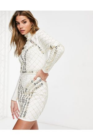 Starlet High neck embellished mini dress in white and gold