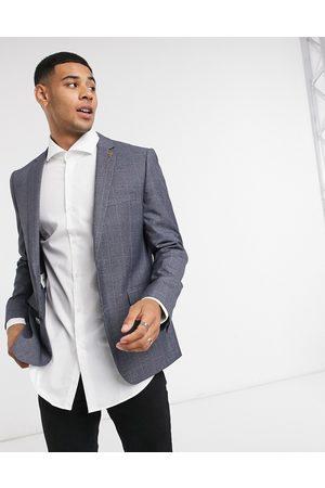 Farah Check slim fit suit jacket-Grey