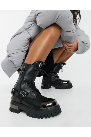 Koi Footwear Desolation vegan chunky ankle boots with metal plating in