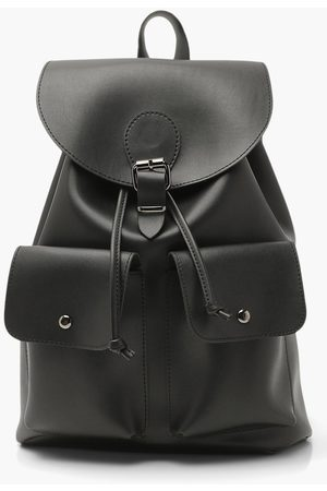 Boohoo Womens Smooth Pu Double Pocket Buckle Rucksack - - One Size