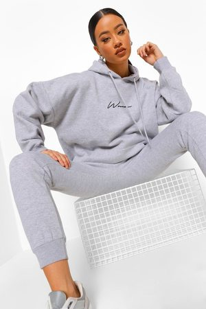 Boohoo Womens Oversized Woman Embroidered Hooded Tracksuit - - S