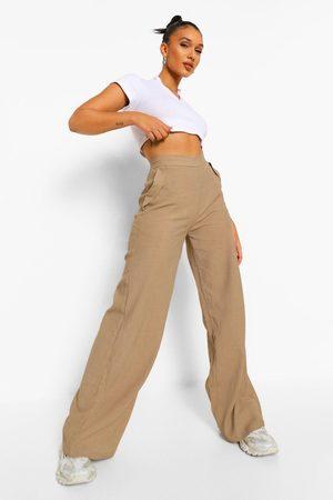 Boohoo Womens Textured Pocket Detail Wide Leg Trouser - - 2