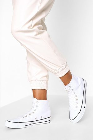 Boohoo Womens High Top Canvas Sneakers - - 5
