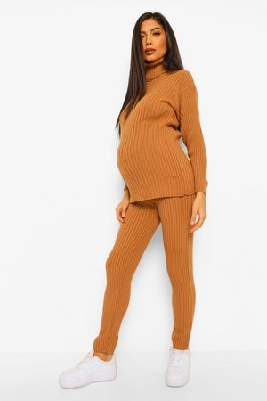 Boohoo Womens Maternity Sweater And Legging Knitted Rib Two-Piece - - S