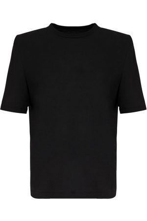 The Attico Cotton Jersey T-shirt W/ Shoulder Pads