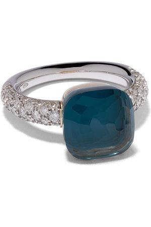 Pomellato Women Rings - 18kt white & rose gold Nudo Classic topaz and diamond ring