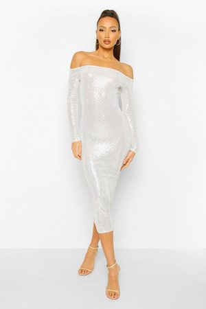 Boohoo Womens Tall Sequin Square Neck Long Sleeve Bodycon Dress - - 2