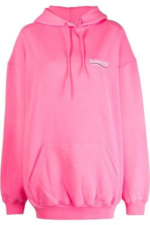Balenciaga Women Hoodies - Logo print cotton hoodie