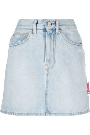 OFF-WHITE High-waist denim mini skirt