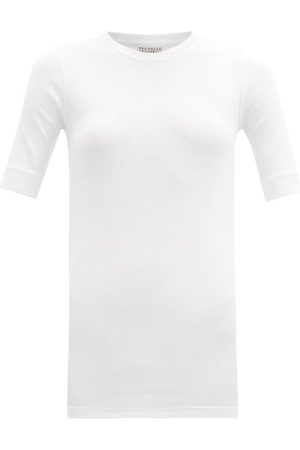 Brunello Cucinelli Women Short Sleeve - Ribbed Cotton-blend T-shirt - Womens