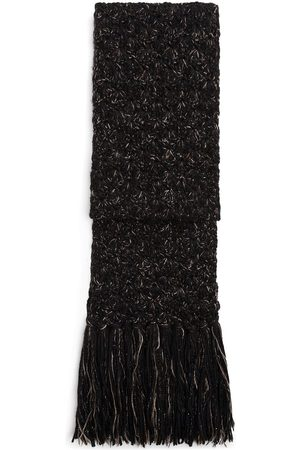 Dolce & Gabbana Frayed virgin wool-blend scarf - Grey