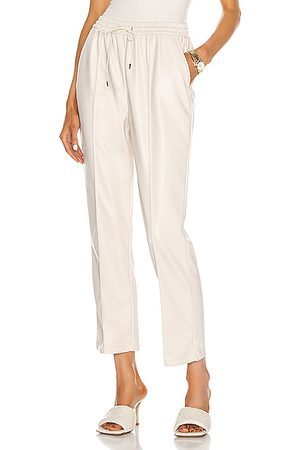 JONATHAN SIMKHAI STANDARD Leather Pants - Tay Vegan Leather Cropped Jogger in Ivory