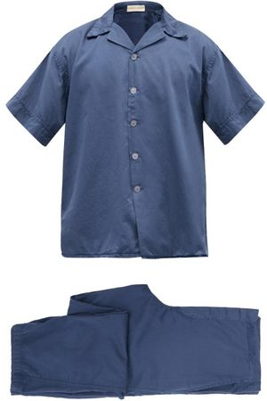 Cleverly Laundry Superfine Cotton-sateen Pyjama Set - Mens - Navy