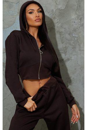 PRETTYLITTLETHING Women Hoodies - Chocolate Zip Up Bustier Hoodie