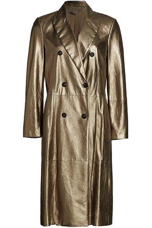 Brunello Cucinelli Women's Metallic Leather Double Breasted Overcoat - - Size 46 (10)