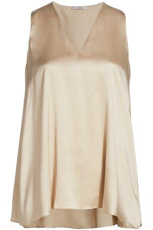Brunello Cucinelli Women's Sleeveless Silk V-Neck Top - - Size Small