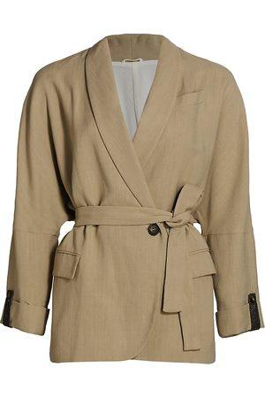 Brunello Cucinelli Women's Linen-Blend Monili-Cuff Wrap Jacket - - Size 38 (2)