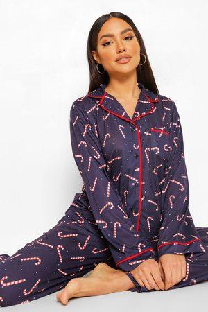 Boohoo Women Pajamas - Womens Mix And Match Candy Cane Pj Shirt - - 4