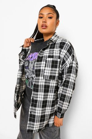 Boohoo Womens Plus Oversized Boyfriend Flannel Shirt - - 12