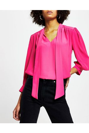 River Island Pussybow blouse in bright