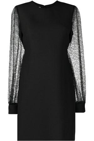 VALENTINO Lace-sleeve mini dress