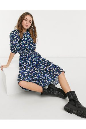 Influence Puff sleeve midi dress in floral print-Multi