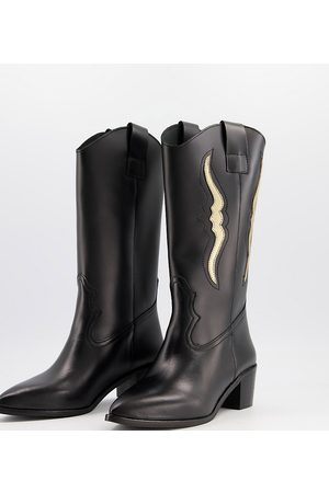 DEPP Wide fit knee high western boots in leather
