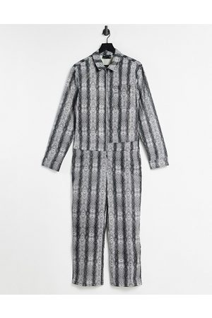 ASOS Boilersuit in faux leather snake effect