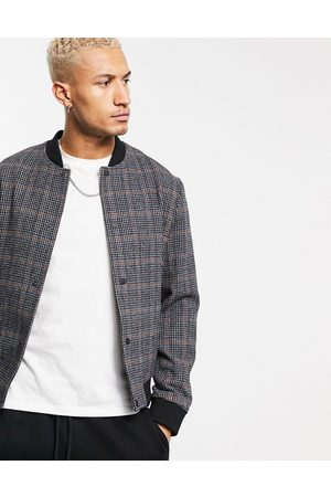 ASOS Wool mix bomber jacket in dogtooth check-Grey