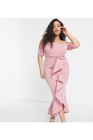 True Violet Exclusive bardot corset detail ruffle fishtail midi dress in winter blush