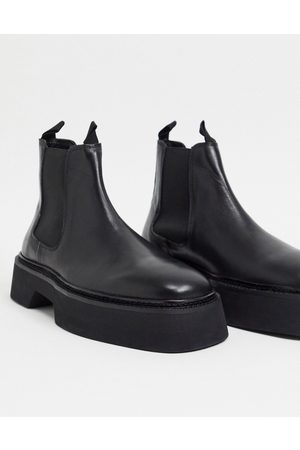 ASOS Chelsea square toe boots in high shine leather