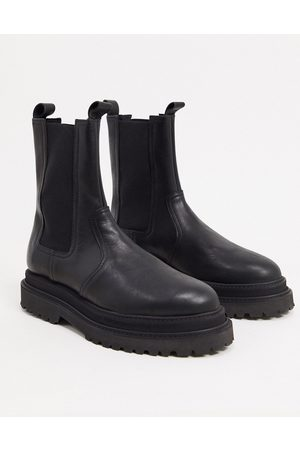 ASOS High chelsea calf boots on stacked sole in high shine leather