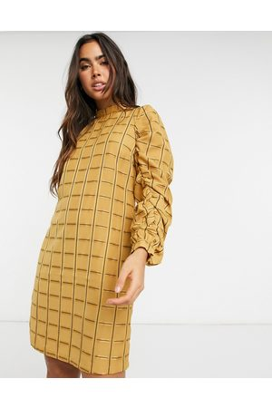 Y.A.S Anise ruched sleeve grid-pattern mini dress in