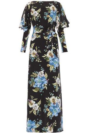 Erdem Jude Carnation-print Silk Maxi Dress - Womens - Print