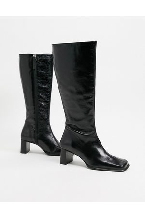 ASOS Cali premium leather heeled knee boots in