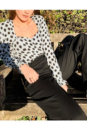 & OTHER STORIES & square neck puff sleeve blouse in blue with black dots-Multi