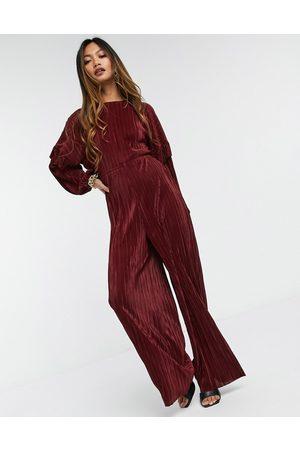 ASOS Ruffled open back long sleeve plisse tea jumpsuit in