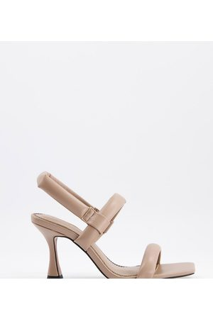ASOS Wide Fit Hickory padded mid-heeled sandals in mushroom