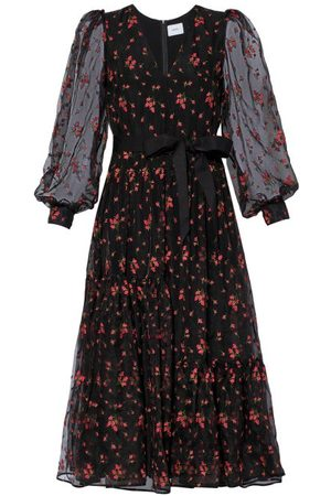 Erdem Women Printed Dresses - Lucina Floral-embroidered Organza Dress - Womens