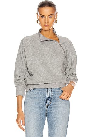 Marissa Webb So Uptight Funnel Neck Zip Sweatshirt in Grey