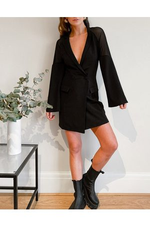ASOS Mesh sleeve off-the-shoulder tux oversized mini dress in