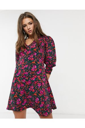 QED London Puff sleeve mini dress in floral print-Multi