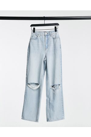 ASOS Hourglass high rise 'relaxed' dad jeans with rips in lightwash