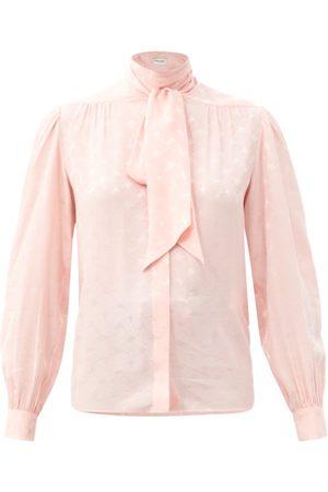 Saint Laurent Tie-neck Silk-jacquard Blouse - Womens - Light