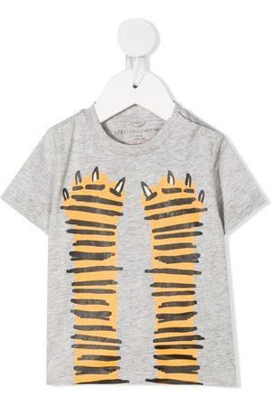 Stella McCartney Tiger paws-print T-shirt - Grey