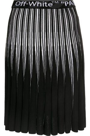 OFF-WHITE Logo-waistband pleated skirt