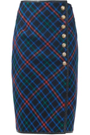 Saint Laurent Leather-trim Plaid Wool Midi Skirt - Womens - Multi