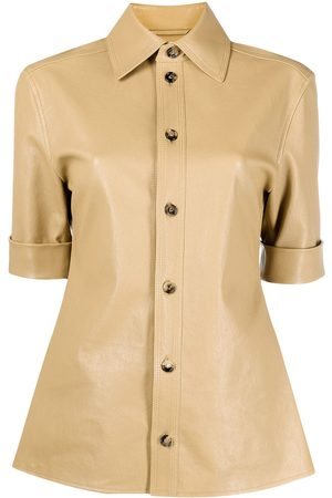 Bottega Veneta Short-sleeve leather shirt - Neutrals