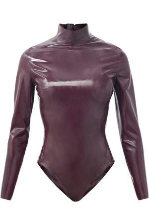 Saint Laurent Women Bodies - High-neck Latex Bodysuit - Womens - Burgundy