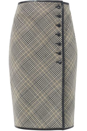 Saint Laurent Women Leather Skirts - Leather-trim Prince Of Wales-check Midi Skirt - Womens - Grey